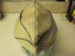 Ww2 U. S. Army Officer's Khaki, Garrison Cap With Gold/black Piping Large Size