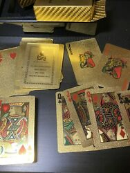 Original Ned Kelly's Gold 24k Gold Gilt 2-deck Playing Card Sets, Timber Case