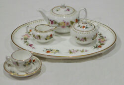 Discontinued Wedgwood Mirabelle 8 Piece Mini / Miniature Tea Set For One W/tray