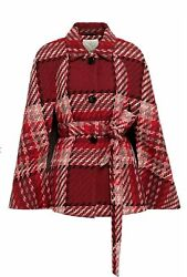 New Kate Spade Poncho Cape Red Multicolor Chunky Plaid Belted Wool Blend S And M