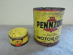 Vintage Pennsoil Lot-2 Motor Oil Grease Cans Advertizing Sign Gas Station