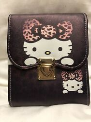 Hello Kitty Face Cross Body Bag Kids Girls Cute Design Brown Color PU Leather $14.00