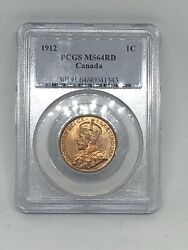 1912 Canada 🇨🇦 Canadian Pcgs Ms64 Rd Red Large One 1 Cent Coin Rare