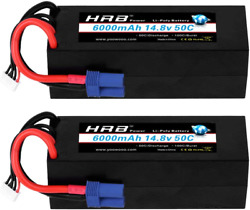 Hrb 4s 14.8v 6000mah 50c Rc Lipo Battery Hard Case With Ec5 Connector For Rc Car