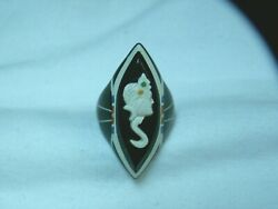 ...rare Art Deco Carved Celluloid Cameo Ring...