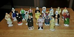 Vintage Collection of 18 Glazed Ceramic Small Figurines People Of The World 3quot;
