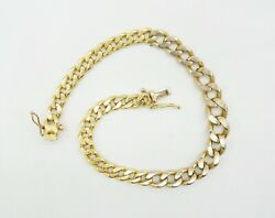 18k Two Tone Y And W Gold Center Links Graduated Solid Curb Bracelet 8 25g S369