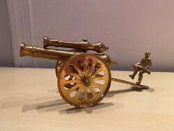 Vintage Brass Double Barrel Cannon With Soldier On Back Artillery Military Toy