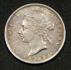 1887 Canada 25 Cents Silver. Rare Key Date. Ef Attracively Toned.