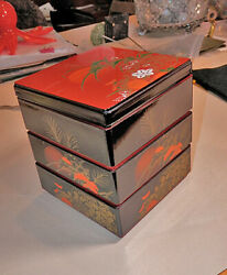 Japanese Traditional Footed Four Tiered Lacquer Stacking Square Containers