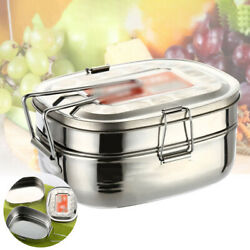 2 Layers Lunch Box Stainless Steel Thermal Bento Box Children Divided Food New $11.78