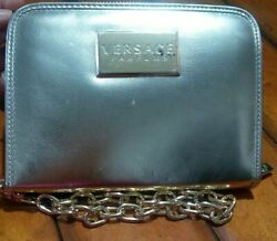 Versace Parfums Metallic Gold Evening Wristlet Clutch Bag With Chain Link. $19.99