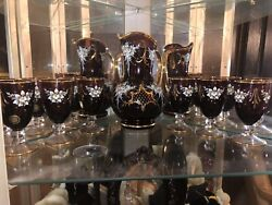 Vintage Italian Murano 24kt Gold Leaf Relief Decanter Wine Glasses And Tray
