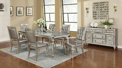 Modern Glam 8-piece Dining Extension Leaf Table And Server, Metallic Platinum