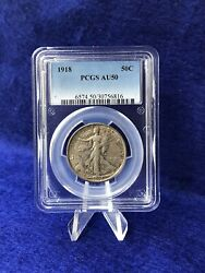 1918 Walking Liberty Half Dollar 50c Pcgs Au50 About Uncirculated
