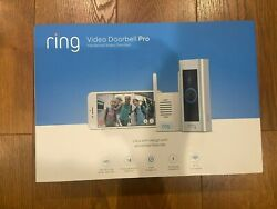 Brand New Ring Video Doorbell Pro And Chime Pro Bundle Satin Nickel
