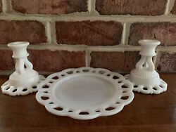 Lot Westmoreland Milk Glass Doric Open Lace Pattern 2 Candlesticks And Dish