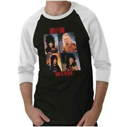 Licensed Motley Crue Shout At The Devil 80s Adult 3 4 Sleeved Raglan Tshirt Tee