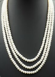 Button Freshwater Pearl Triple Strand Necklace Sterling Silver Clasp