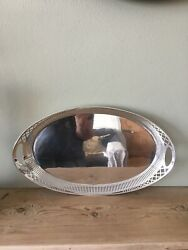 Antique Solid Silver Oval Tray. 420mm. Sheffield 1912
