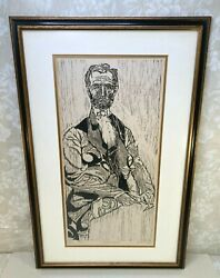 Abraham Lincoln Woodcut By Richard C Wood Ltd Edition 14/24 Framed And Matted