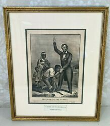 Antique Currier And Ives Print Freedom To The Slaves Publishing Infor Covered