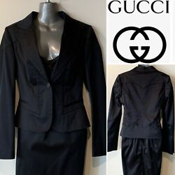 Tom Ford, Italy Black Cotton Sateen Stretch Jacket, Lined 42it/10au/6us