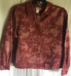 Ladies Size PXL Coldwater Creek Tapestry Jacket with Bead Accents