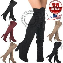 NEW Women#x27;s Thigh High Stretch Boot Sexy High Heel Over The Knee Pull on Boots $27.99