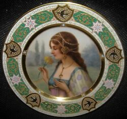 Royal Vienna Portrait Plate C.1890 Jewelled Border Signed