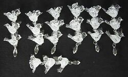 Lot Of Five Hand Spun Blown Glass 5 Clear Doves Row Hanging Christmas Ornaments