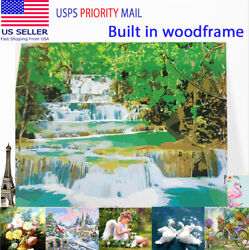 Wood Frame Paint By Number Numbers Kit Oil Painting Home Decor Water Wonderland