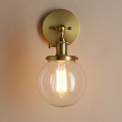 5.9 Glass Globe Antique Retro Industrial Wall Lamp Sconce Indoor Light W Switch