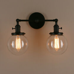 5.9 Double Clear Glass Globe Vintage Industrial 2-light Wall Sconce Shades Lamp