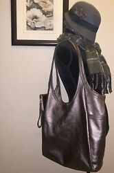 Rough amp; Tumble Minimal Large Pewter Bag Tote Purse $250.00