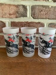 Lot Three Vintage Frosted Steeplechase High Ball Glasses Fox Hunt Hound Horse