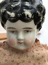 Old Antique China Head Doll 21 In. Old Handmade Body And Clothing
