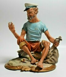 Large Capodimonte Porcelain Of Fisherman Sitting On Sand. Signed By Artist. Rare