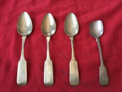 Antique Sterling Silver Spoon Lot Of 4 Js 1800andrsquos Alvin