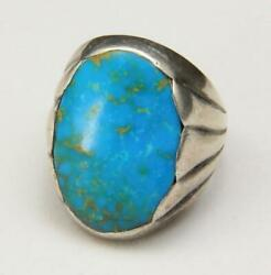 Vintage Men's Sterling Silver And Large Turquoise Sand Cast Ring Southwestern 9.5