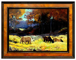 Howard Rogers Original Oil Painting On Canvas Western Horse Art Signed Cowboy