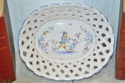 Vintage French Country Faience Bread Basket Atelier De Segries Moustiers Gnomes