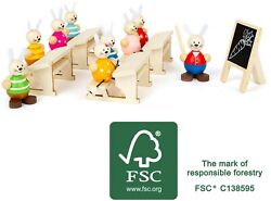 Small Foot Rabbits School Play Set 11315 Childrens Wood Wooden Toy Doll Dolls