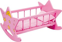 Small Foot Doll's Cradle Star Bed Crib Cot Wood Wooden Toy Doll Dolls