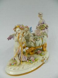Signed Capodimonte Centerpiece With Women And Cherubs
