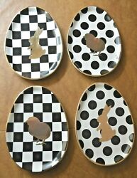 4 Mackenzie Childs Easter Egg Chicken Bunny Courtly Check Salad Dessert Plates