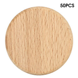 50x Round Wooden Blank Slices Beech Chip No-hole Diy Hand-made Festival Decor