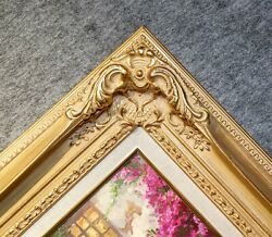 4.5 Wide Antique Premium Gold Leaf Ornate Oil Painting Wood Picture Frame 780gl