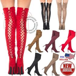 NEW Women#x27;s Thigh High Stretch Boot High Heel Sexy Over The Knee Stiletto Boots $27.99