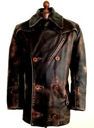 Leather 30s Ww2 Horsehide German Luftwaffe Officers Dispatch Trench Jacket Coat